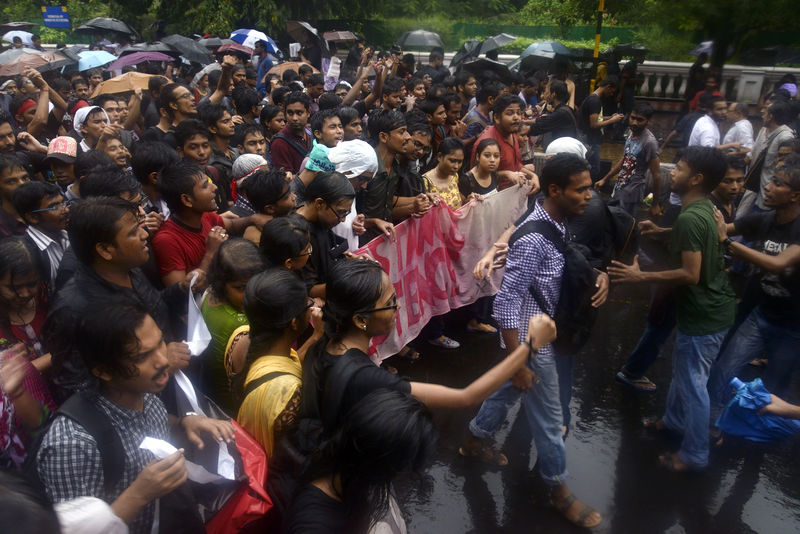 Jadavpur students protesting against police action at campus and demanding resignation of the vice chancellor.