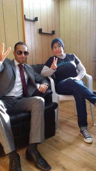 Maryam Al Khawaja with her lawyer Mohammed Al Jishi after her release from prison in Bahrain last night. Source: @Mohamed_Aljishi