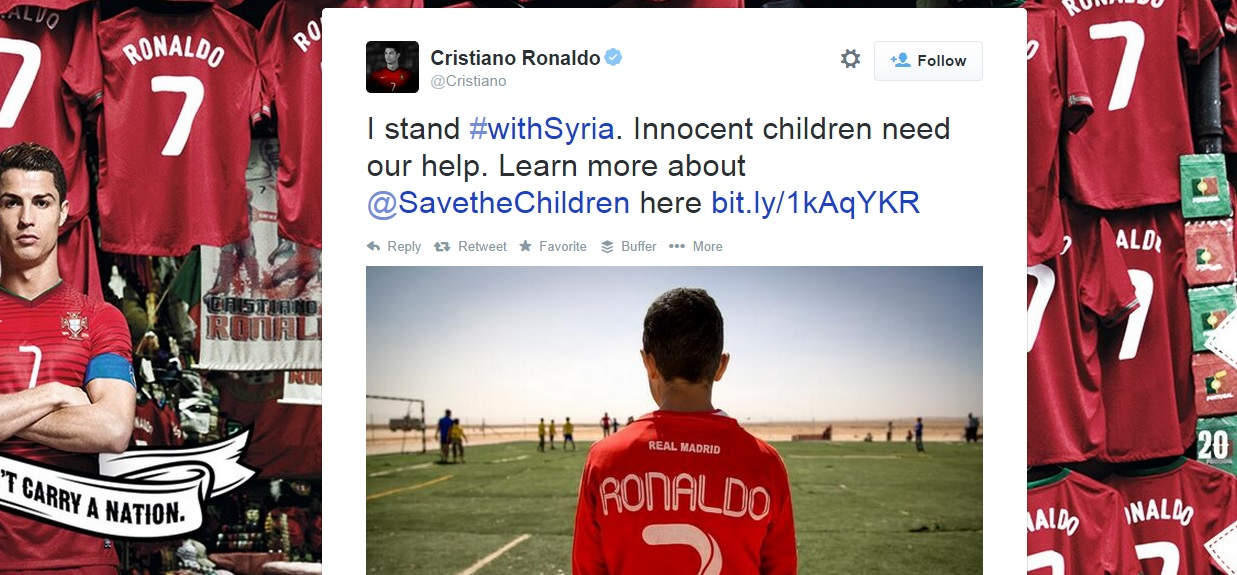 Cristiano Ronaldo supports #withSyria