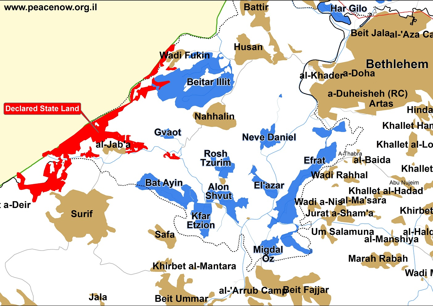 Map of West Bank area West of Bethlemen showing Israeli settlements (blue), Palestinian villages and towns (brown) and the area declared as State Land (red). (Peace Now)