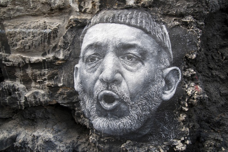 A depiction of Hamid Karzai by Thierry Ehrmann. Sourced from Flickr, labelled for reuse.