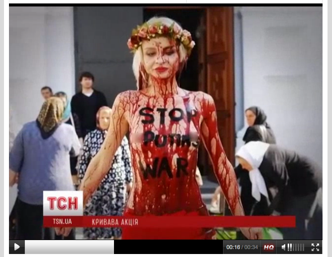 A FEMEN activist protesting against war in Ukraine. Screenshot courtesy of tsn.ua.
