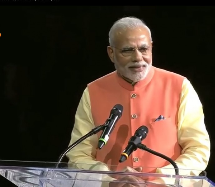 Screenshot of Mr. Narendra  Modi giving his speech at Madison square garden on Sunday 28 September, 2014.