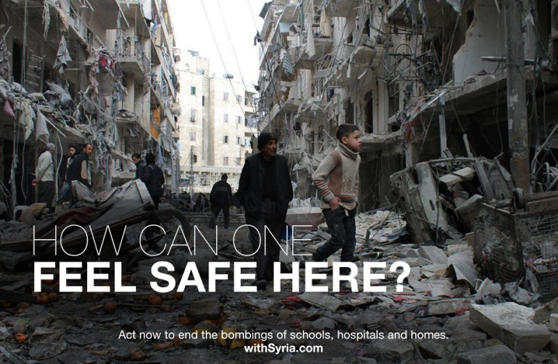 How can one feel safe here? Act now to end the bombing of schools, hospitals and homes. Source: withSyria.com