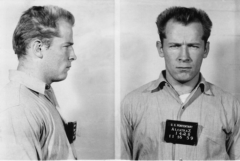 """Mugshot for American organized crime leader James """"Whitey"""" Bulger. Photo by Bureau of Prisons, released to public domain."""