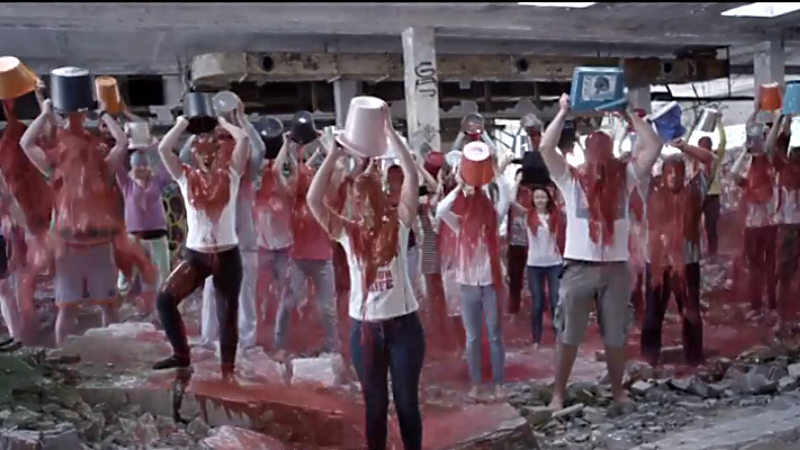 Can this blood bucket challenge video make the Ukrainian cause go viral? Screenshot from YouTube.com.