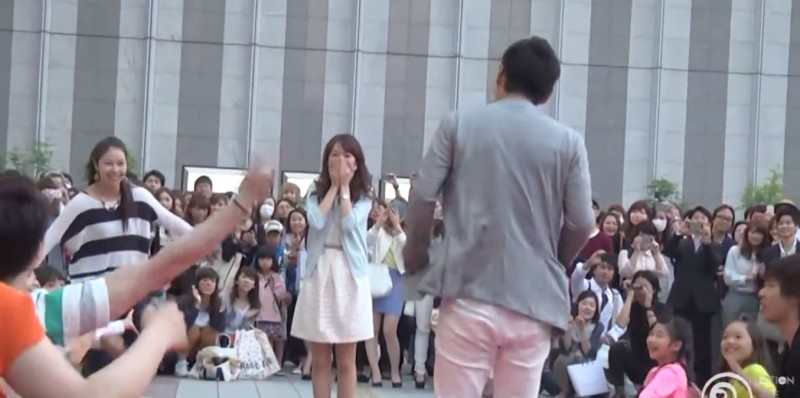 Screenshot of a viral flash mob marriage proposal in Japan.
