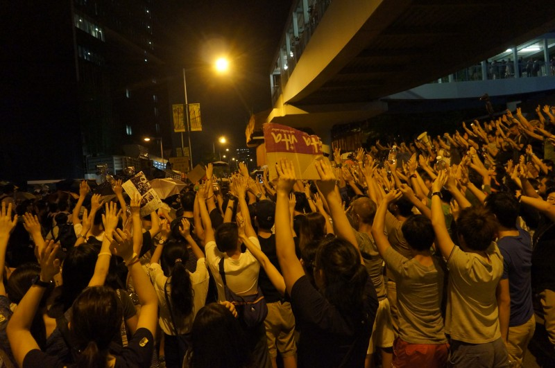 Protesters formed human shields and raised their hands to show that they were peaceful. But the police still pepper sprayed at them.