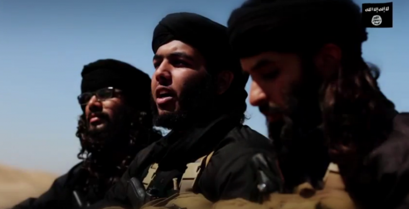Three of the four Bahraini ISIS militants who called Bahrainis to take arms. Screenshot taken from a YouTube video