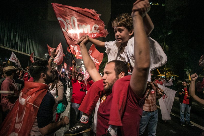 Rousseff's supporters celebrate her victory on Sunday night at Avenida Paulista, in São Paulo. Image by Flickr user Ninja Mídia. CC BY 2.0