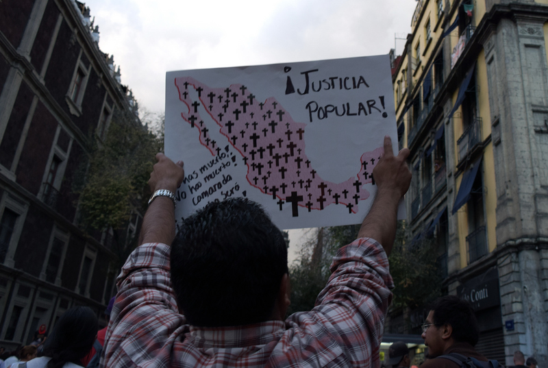 15,000 march against disappearance of Ayotzinapa students, Mexico City, October 8, 2014, by Enrique Perez Huerta. Demotix.
