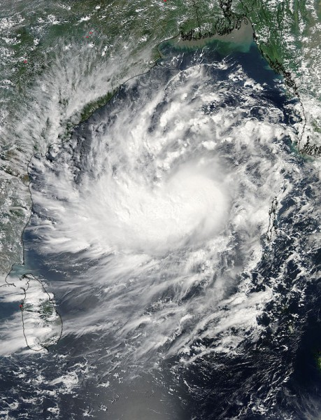 Formed on October 8, the Tropical Cyclone Hudhud is seen moving west across the Bay of Bengal. Photo courtesy of NASA Goddard MODIS Rapid Response Team. Image via Demotix Live News. Copyright Demotix (8/10/2014)