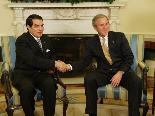 Ben Ali meets with George W. Bush in Washington, DC, 2004. Photo by Paul Morse, released to public domain.