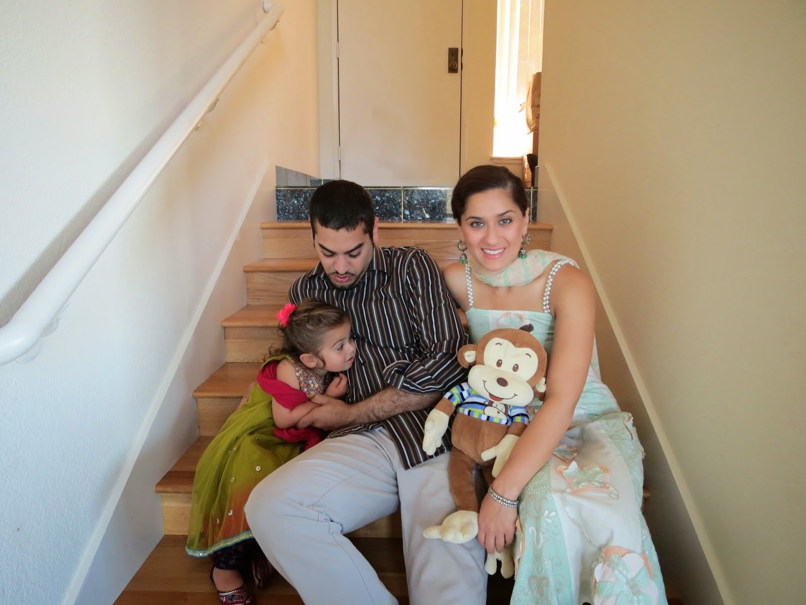 Sahar with her family, Mo, the monkey, her husband Tabriz, and Nava on Eid at their home in California. October 2014.
