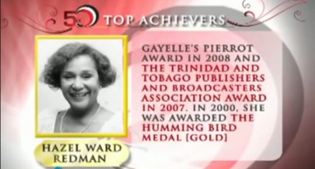 Screen grab of Hazel Ward-Redman, taken from a documentary about the 50 most influential people in Trinidad and Tobago.