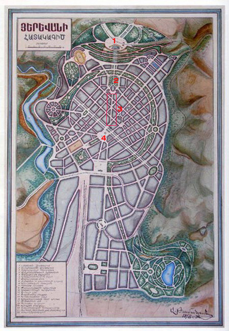 Map 2: Tamanian's general plan of Yerevan. Note the change in map orientation from East-west to North-South. Perhaps this plan laid the foundations of North-South axial orientation for urban Yerevan. Numbers: 1- Stalin Sculpture 2- The Opera House 3- Northern Avenue 4- Lenin Square. Image credit: hovikcharkhchyan's blog.