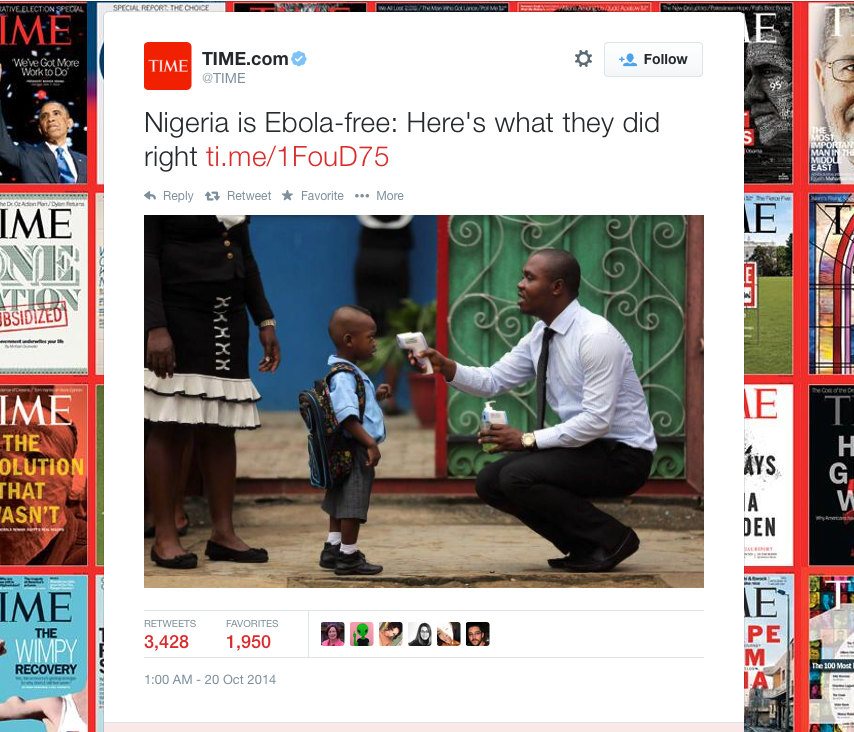 A screenshot of TIME magazine's tweet about Nigeria's containment of the Ebola virus.