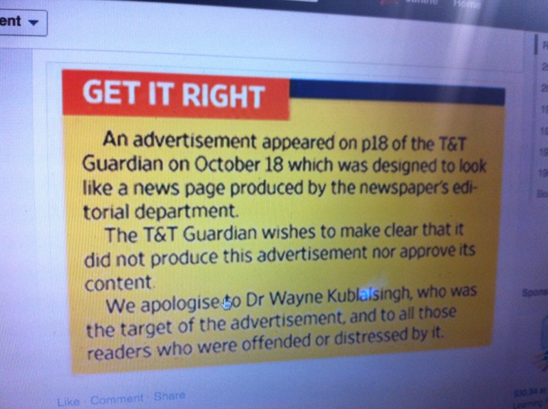 The newspaper's official apology for running the anti-Kublalsingh ad. Photo of the apology as it was being circulated on Facebook; used with permission.
