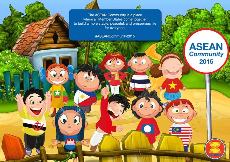 The ASEAN Community Facebook page. Notice there are only 10 children representing 10 countries. East Timor is not yet a member of ASEAN