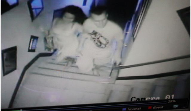 CCTV footage of Jennifer Laude with alleged murder suspect PFC Pemberton entering an Olongapo City lodge. Photo Credits: kapederasyon.wordpress.com