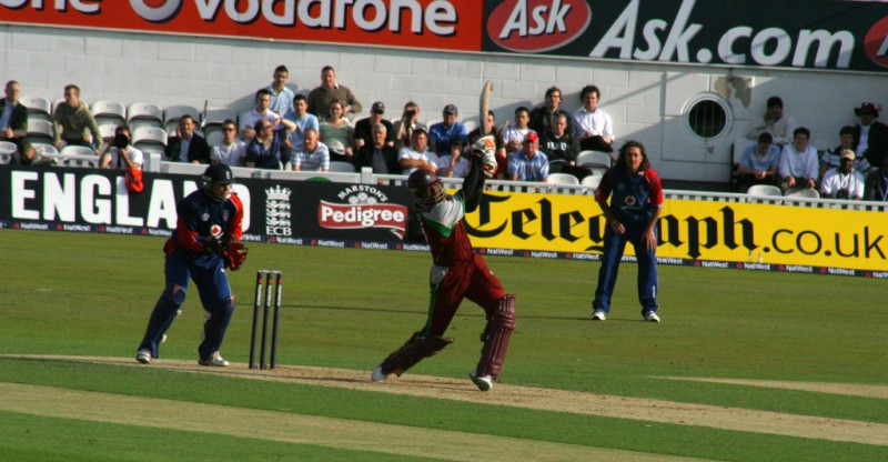 West Indies at bat during a Twenty20 International cricket match; photo by Rich Bee, used under a CC BY-NC-SA 2.0 license.