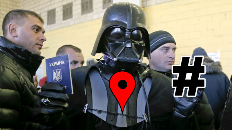 As Darth Vader from the Internet Party of Ukraine voted on Sunday, voters used crowdmaps and hashtags to report on election fraud. Images mixed by Tetyana Lokot.