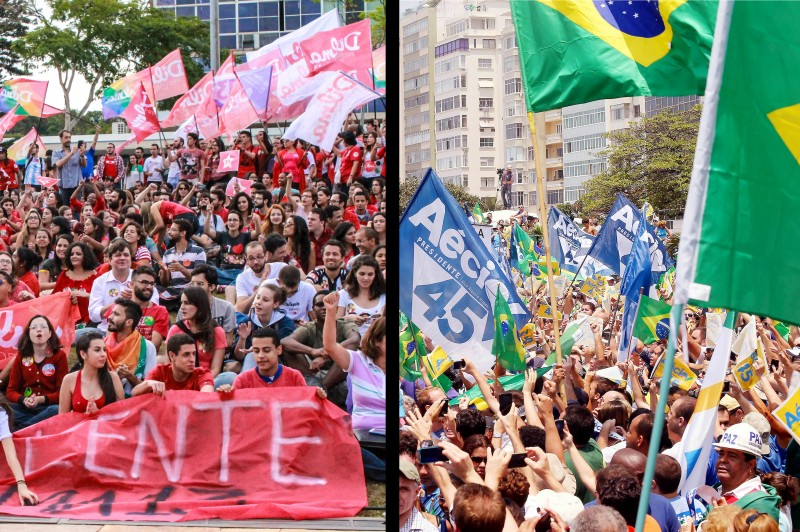 On one side, fear of communism. On the other, fear of fascism. Will the two groups ever make peace? Image by flickr users Ninja Mídia and Aécio Neves. CC BY 2.0