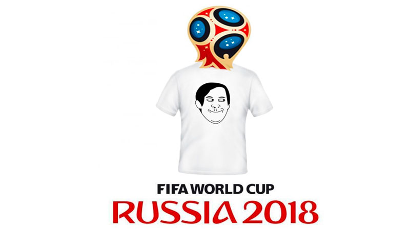 Laughing at the 2018 World Cup logo. Images edited by Kevin Rothrock.