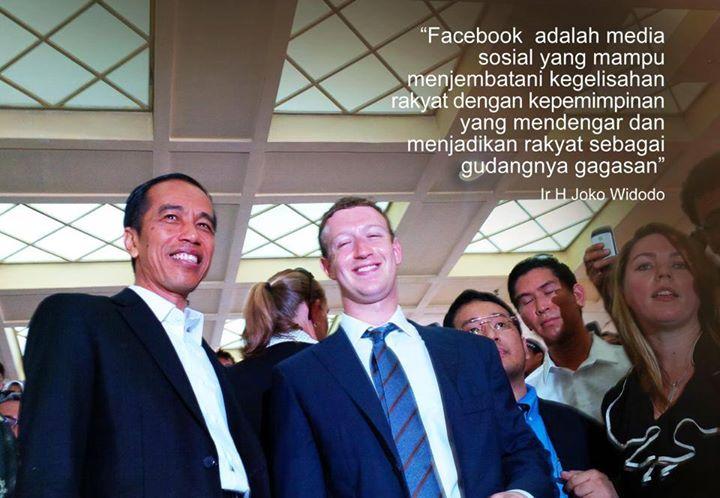 Indonesia's President-elect Jokowi with Facebook founder Mark Zuckerberg