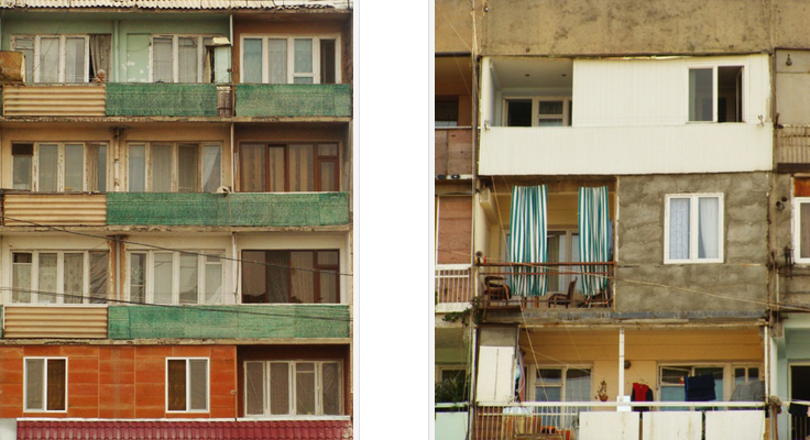 (Left) The façade of the soviet housing block. (Right) Left open or enclosed, balconies are still an important aspect of life at soviet social housing apartments. Photo by Sina Zekavat.