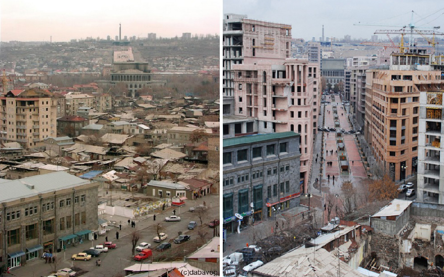 Left image: View of the low income housing prior to their demolition. Tamanian's Opera house and the Mother Armenia statue are visible in foreground. Image credit: HovoYerevan Right image: Same view in 2013 after the opening of Northern Avenue. Image credit: Hayk Bianjyan.