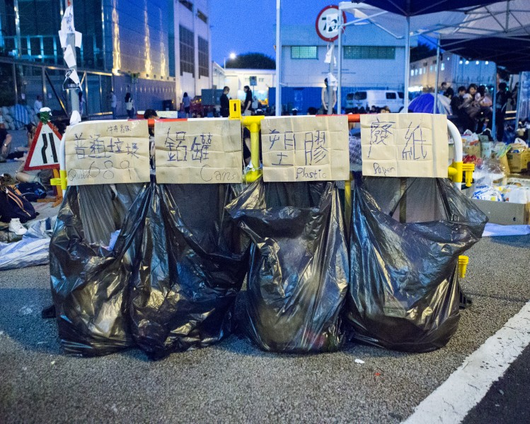 Dubbed the politest protesters, Hong Kongers have set up a recycling station to keep the protest sites clean. Photo by Pete Walker. Copyright Demotix