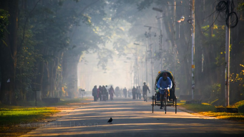 Picture of Rajshahi University Campus in a misty winter morning. Image from Flickr by  Kamrul Hasan. December 16, 2013 (CC BY-NC-SA 2.0)