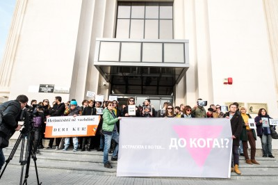 Human rights activists block Public Prosecutors' Office in Skopje on November 6, 2014. Photo by Vancho Dzhambaski. (CC BY-NC-SA)