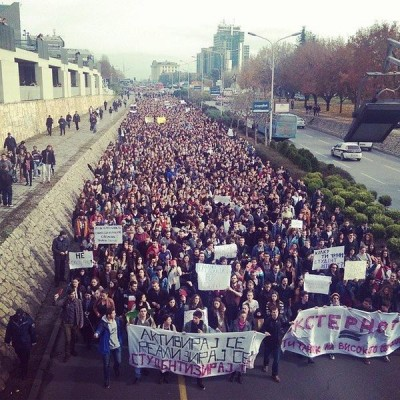 Student march in Skopje, Macedonia. Photo by Marjan Zabrcanec, used with permission.