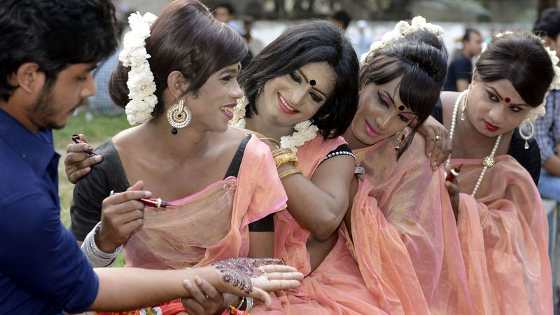 Hijra pride 2014 festival began in Bangladesh on Sunday. The photo was taken from the Sahabgh Raju Circle in Dhaka. Image by Anwar Hossain Joy. Copyright Demotix (9/11/2014)