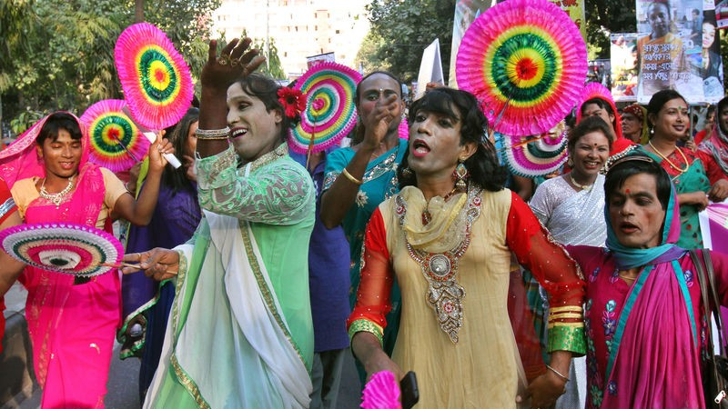 Celebrating ' Third gender (Hijra) Pride 2014' in Bangladesh. Image by Sk. Hasan Ali. Copyright Demotix (10/11/2014)