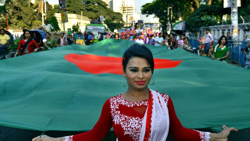 Transgender people parade with the national flag in Dhaka to mark 'Hijra Pride'. Image by Sony Ramany. Copyright Demotix (10/11/2014)