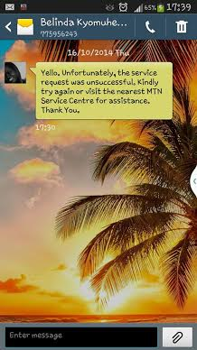 A screenshot of  MTN customer's phone Belinda Kyomuhendo saying the service request was unsuccessful. Image used with permission.