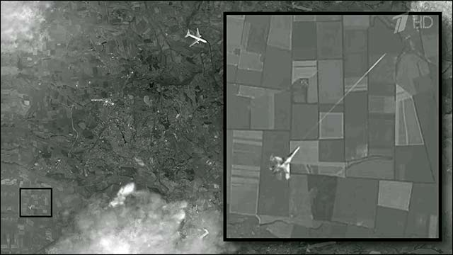 The image Russian state TV claims is proof that MH17 was shot down by a Ukrainian fighter jet. Screenshot from 1tv.ru.