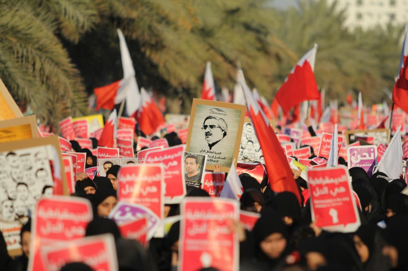 Around 300,000 Bahrainis marched to demand democracy and freedom in a protest that coincided with the anniversary of the outbreak of the revolution in the country on February 14. 2011. Photo by Sayed Baqer Alkamel. Copyright Demotix