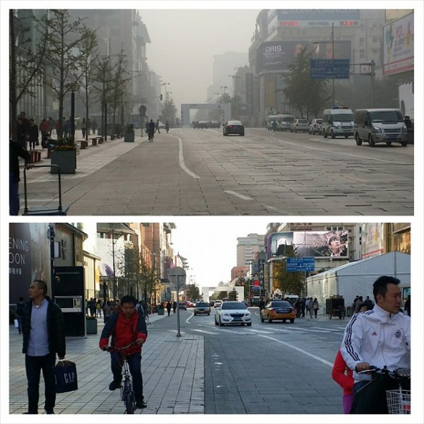 Two photos of the same street in Beijing, one taken on a clear, sunny day and the other on a smoggy day. Photo uploaded to Flickr by user Locksley McPherson Jnr on October 26, 2014. CC BY-NC-SA 2.0