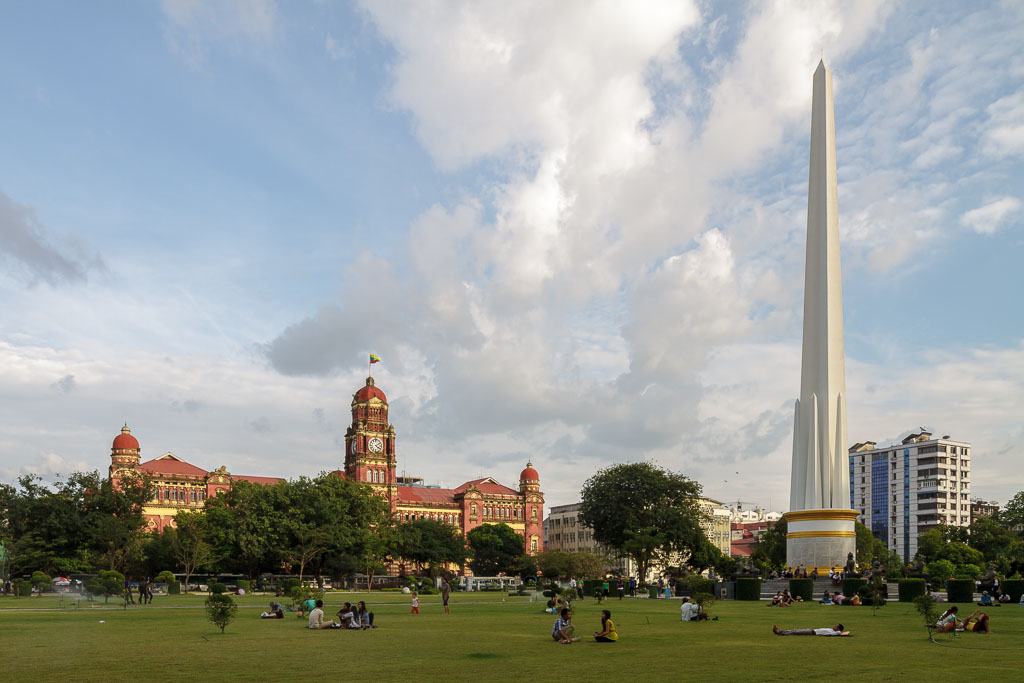 Independence monument near the former high court.  Photo by Manuel Oka for Yangon Architectural Guide (DOM Publishers, 2015)