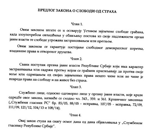 Screenshot of a page of the official proposal of the Law on Freedom from Fear, as posted by Deputy Speaker of the Serbian National Assembly Gordana Čomić on Slideshare, used with permission.