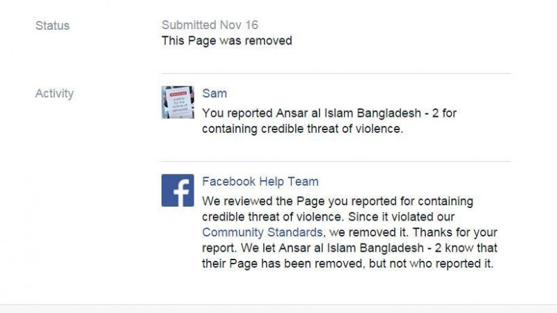 Screenshot of Facebook reply