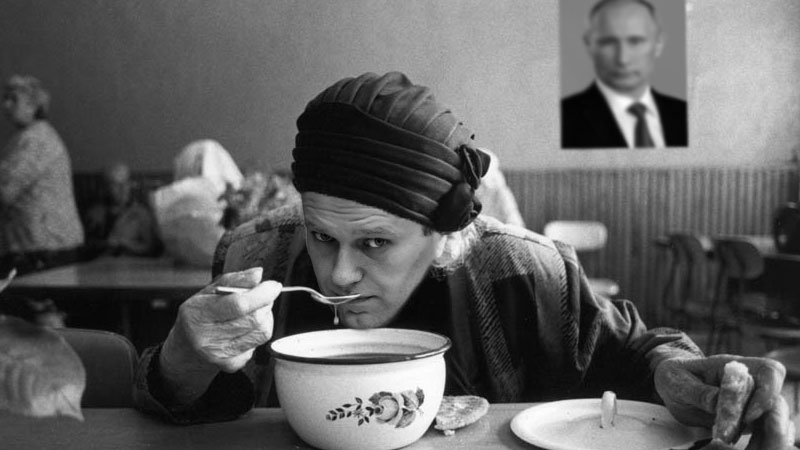 Alexey Navalny as a Kremlin soup kitchen guest.  Images edited by Kevin Rothrock.