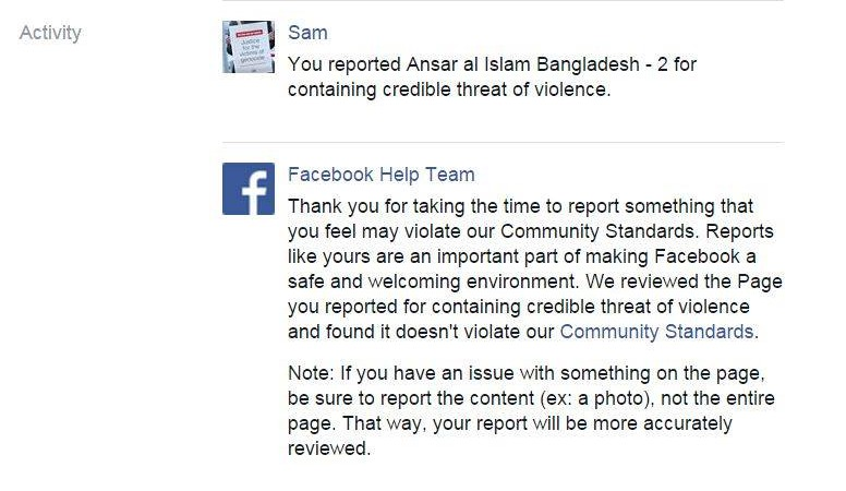 Screenshot of Facebook's reply.