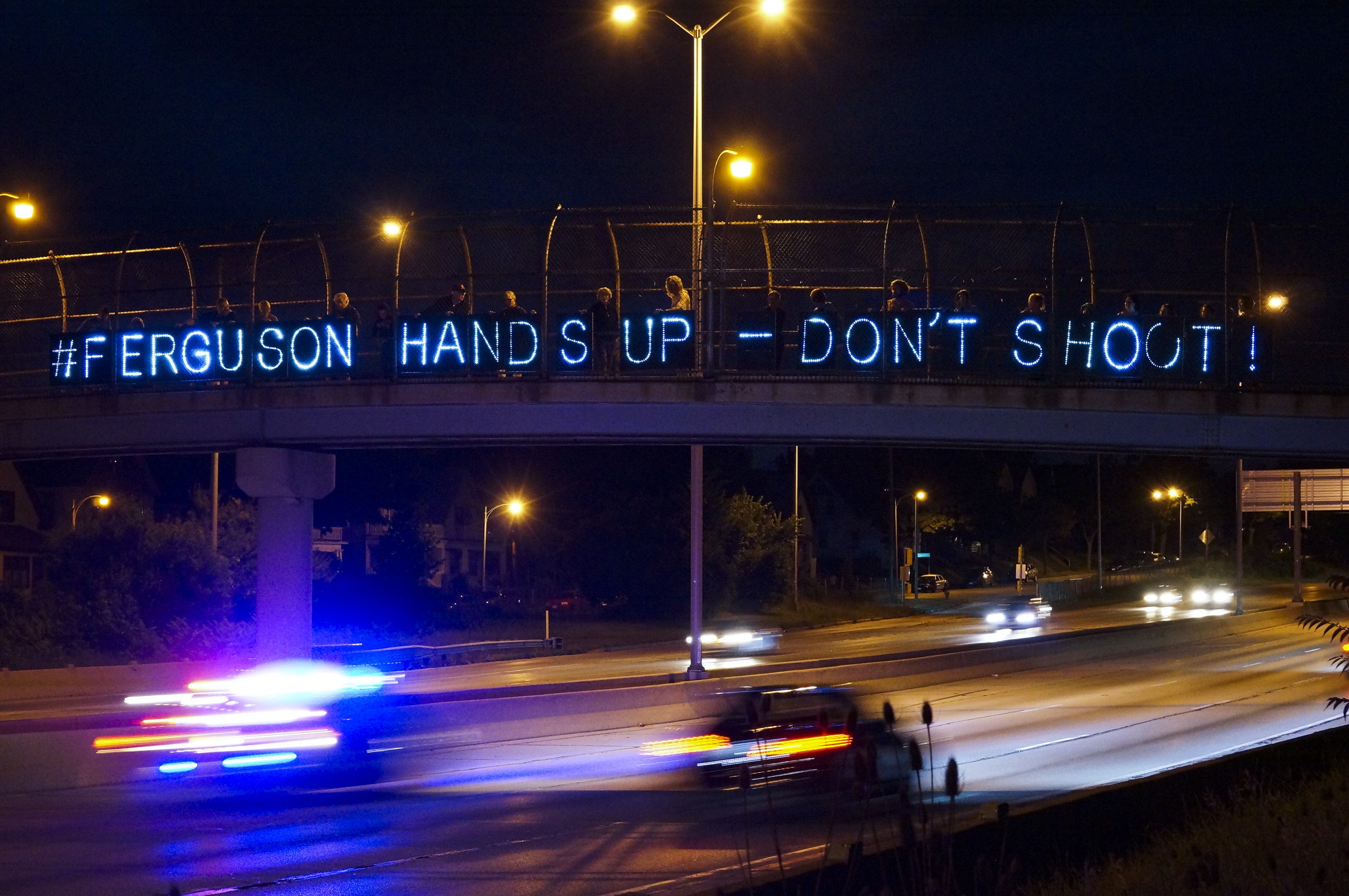 """Message Reflects on Traffic"" in Ferguson, Missouri. Photo by Light Brigading on Flickr."