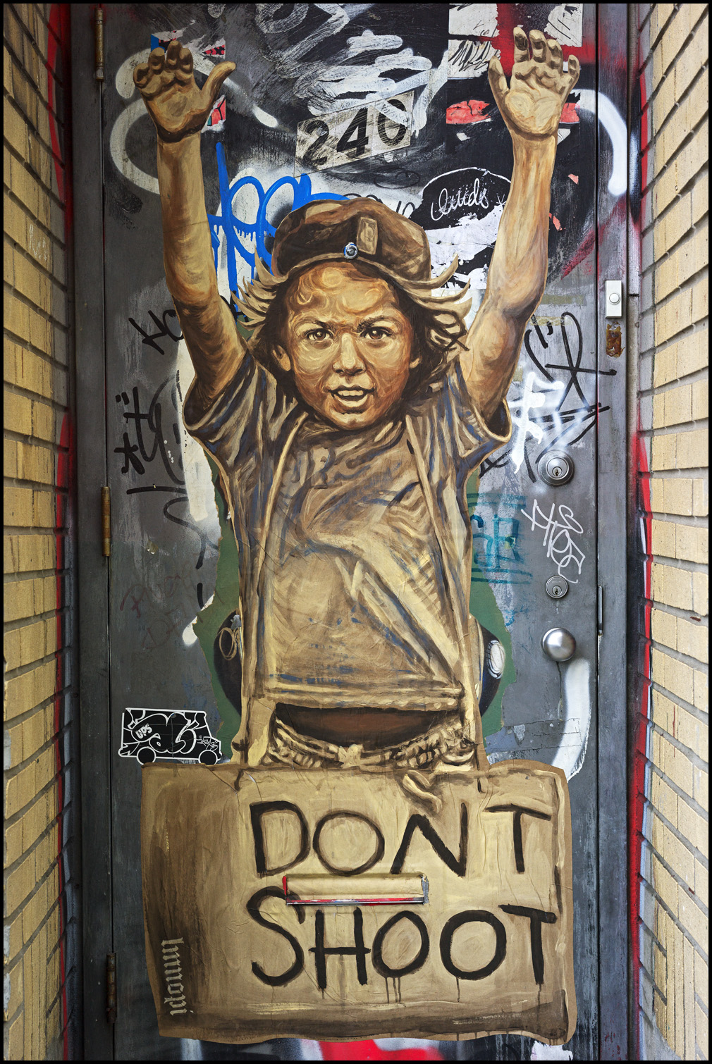 Graffiti in Brooklyn, New York in support of the Ferguson, Missouri protests. Photo by Damien Derouene on Flickr.