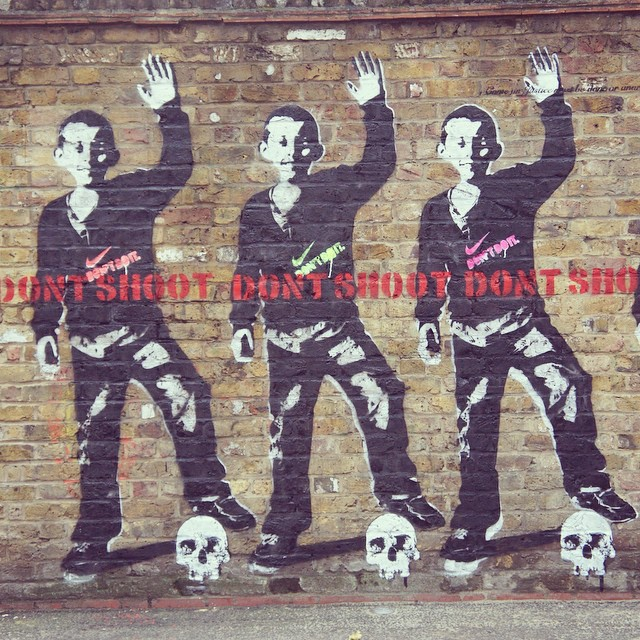 Graffiti in London, England in support of the Ferguson, Missouri protests. Image widely circulated on the Internet.